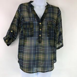 Papermoon Stitch Fix Sheer Plaid Button up Top